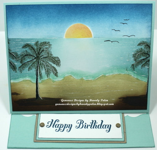 Happy Birthday Easel Card, Brayer Beach Scene