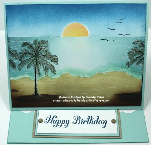 Happy Birthday Easel Card, Brayer Beach Scene