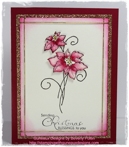 Stampin Up Christmas Blessings Card – Pink Poinsettias