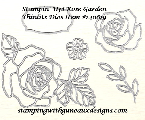 SU Rose Garden Thinlits Inlay Thank You Card