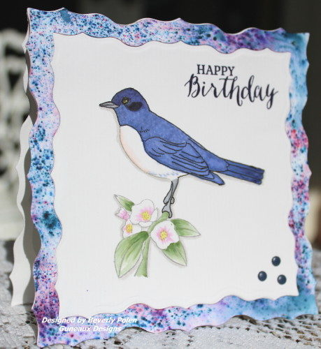 Happy Birthday Greeting Card Purple Starling